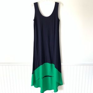 Tommy Hilfiger Navy Green High Low Dress Large